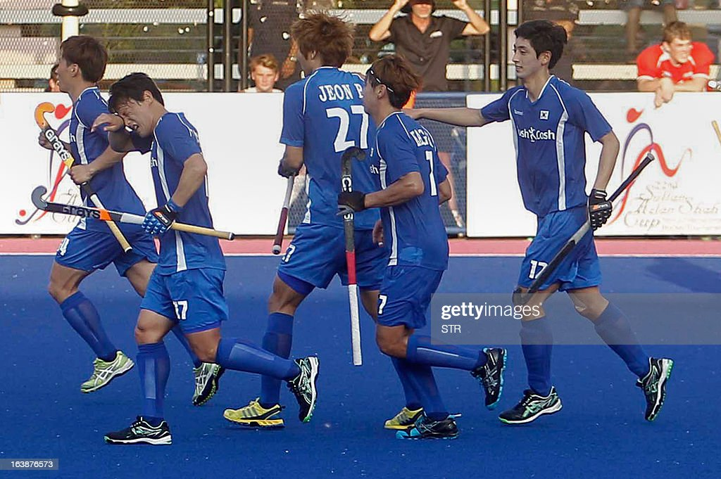 South Korea players celebrate their first goal against New Zealand during a third place playoff match at the Sultan Azlan Shah Cup men's field hockey...