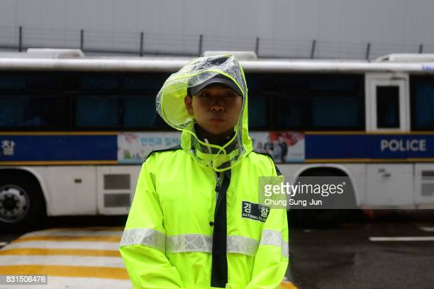 South Korea policeman stands in front of Japanese embassy during a 72nd Liberation Day rally in front of Japanese embassy on August 15 2017 in Seoul...
