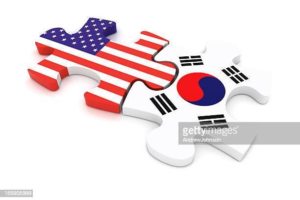 USA South Korea Puzzle Concept
