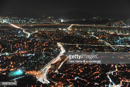 South Korea Seoul Skyscraper night city view from Seoul Tower : ストックフォト