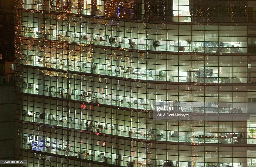 South Korea, Seoul, Yongsan-gu, office building, full frame, night : Stock Photo