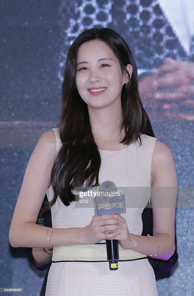 South Korea singer and actress Seohyun attends a press conference for an internet drama on June 29, 2016 in Beijing, China.