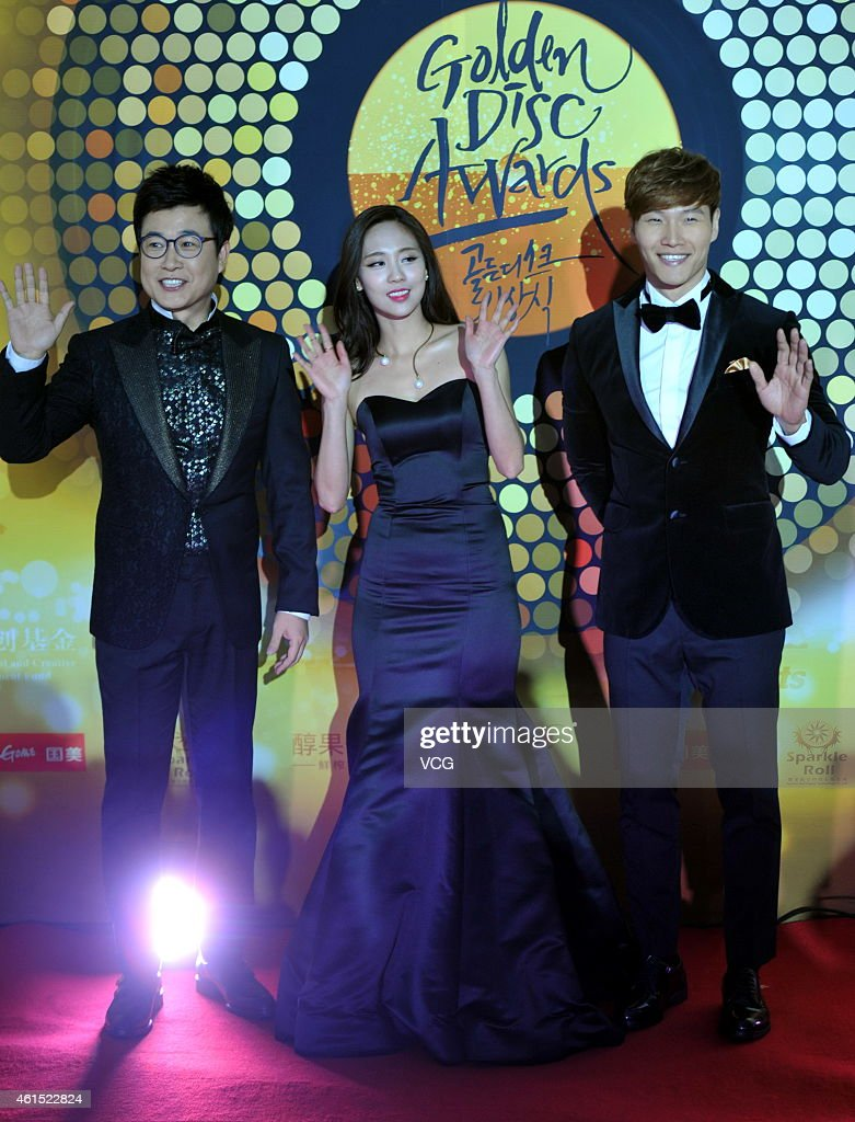 South Korea singer Fei of Miss A and singer and host Kim Jong Kook attend the 29th Golden Disk Awards on January 14 2015 in Beijing China