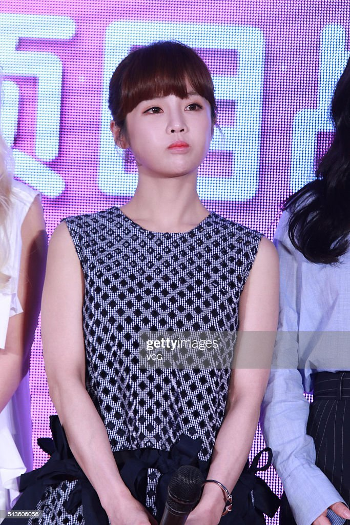 South Korea singer Jeon Bo Ram of girls group T-ara attends a press conference of South Korea SBS (Seoul Broadcasting System) on June 29, 2016 in Beijing, China.