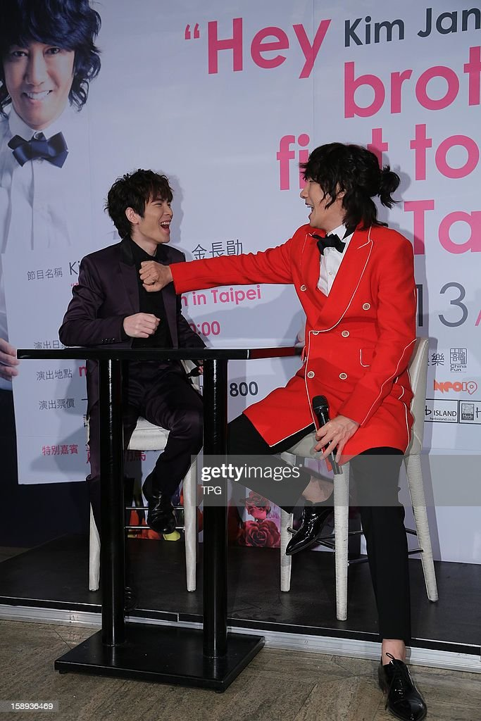 South Korea singer Kim Jang Hoon held a press conference for his concert on Thursday January 03, 2013 in Taipei, Taiwan, China. His friend Jam Hsiao came to support him.