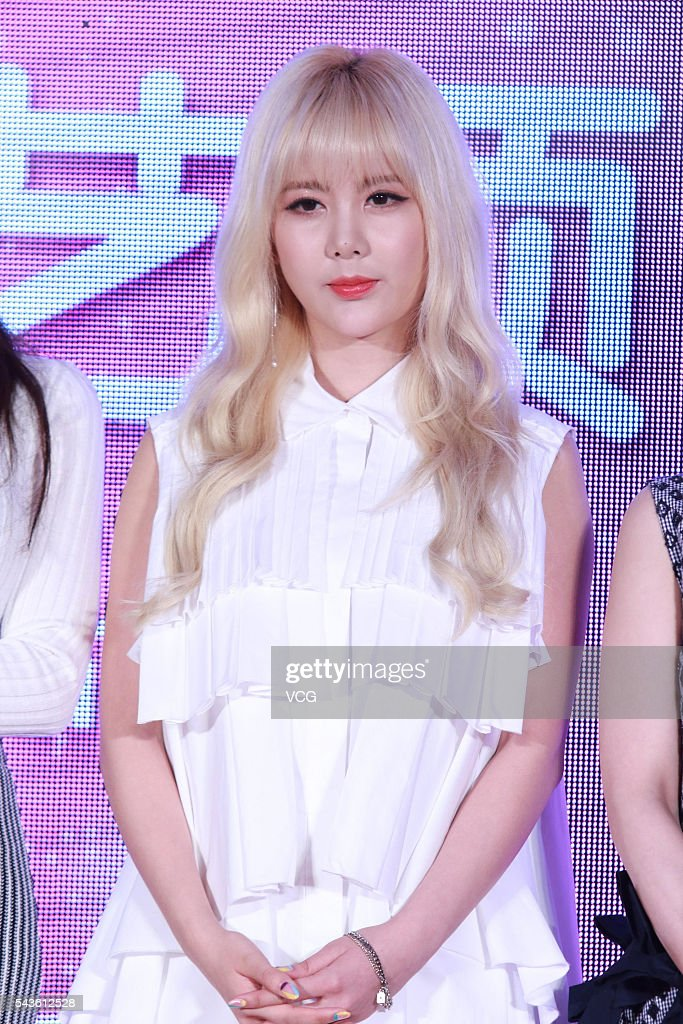 South Korea singer Lee Ji Hyun of girls group T-ara attends a press conference of South Korea SBS (Seoul Broadcasting System) on June 29, 2016 in Beijing, China.