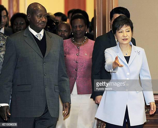 SEOUL South Korea South Korean President Park Geun Hye and Uganda's President Yoweri Museveni are seen ahead of their talks at the presidential...
