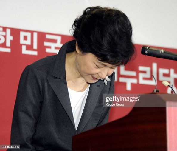 SEOUL South Korea South Korean ruling party presidential candidate Park Geun Hye bows during a press conference at her Saenuri Party's headquarters...