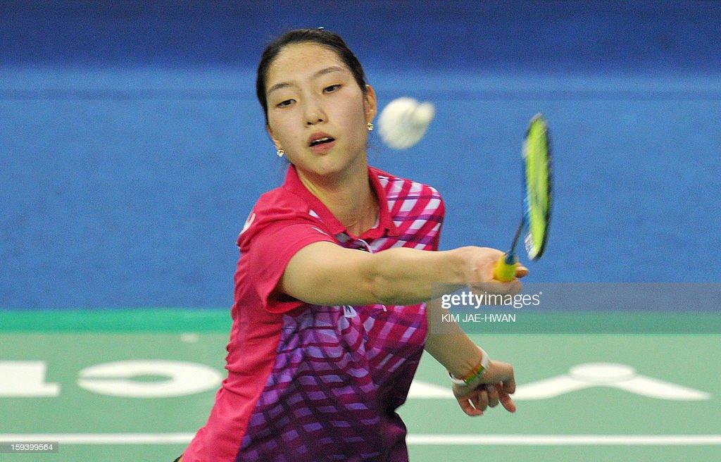 South Korea Sung Ji-Hyun plays a shot during their women's singles badminton match against Wang Shixian of China during the finals of the Korea Open at Seoul on January 13, 2013. Sung Ji-Hyun won the match 21-12, 22-20.