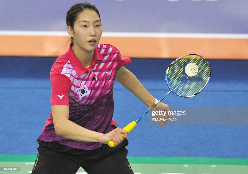 South Korea Sung Ji-Hyun plays a shot during their women's singles badminton match against Wang Shixian of China during the finals of the Korea Open at Seoul on January 13, 2013. Sung Ji-Hyun won the match 21-12, 22-20.
