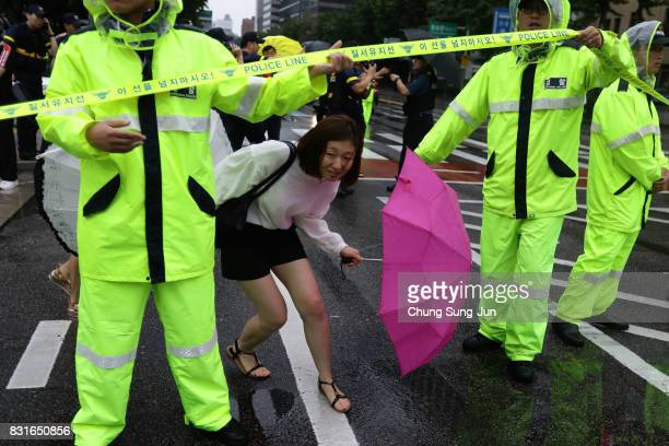 South Korea woman past police line during a during a 72nd Liberation Day rally on August 15 2017 in Seoul South Korea Korea was liberated from...