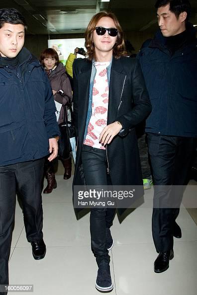 South Korean actor and singer Jang KeunSuk is seen at Gimpo International Airport on January 25 2013 in Seoul South Korea