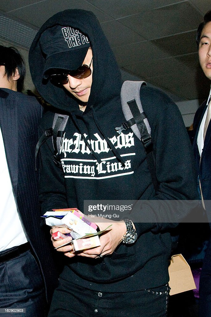 South Korean actor and singer Kim Hyun-Joong is seen upon arrival at Incheon International Airport on February 28, 2013 in Incheon, South Korea.
