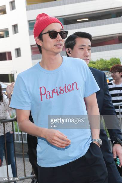 South Korean actor Gong Yoo arrives at Hong Kong International Airport to return to South Korea on May 7 2017 in Hong Kong China
