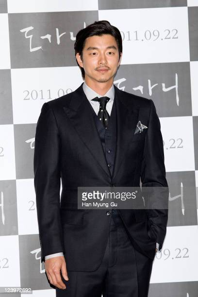South Korean actor Gong Yoo attends the 'Dogani' Press Screening at Wangsimni CGV on September 6 2011 in Seoul South Korea The film will open on...