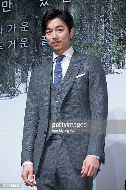 South Korean actor Gong Yoo attends the press conference for 'A Man and A Woman' at CGV on January 19 2016 in Seoul South Korea