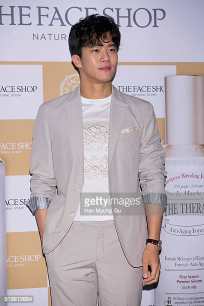 South Korean actor Ha SeokJin aka Ha SukJin attends the photocall for the launch of TheFaceShop 'The Therapy First Serum And Moisture Blending...