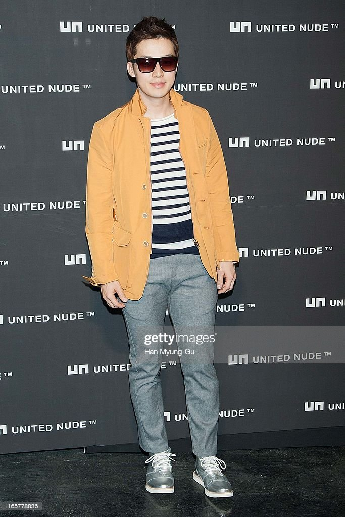 South Korean actor Huh Kyung-Hwan (Heo Kyung-Hwan) poses for media the 'United Nude' flagship store opening at United Nude Gangnam Store on April 5, 2013 in Seoul, South Korea.