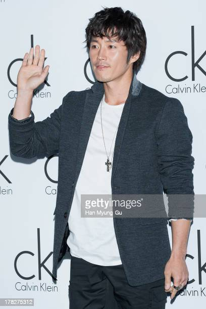 South Korean actor Jang Hyuk attends during the Calvin Klein 2013 F/W Live Model Presentation at ck Calvin Klein Gangnam Store on August 28 2013 in...