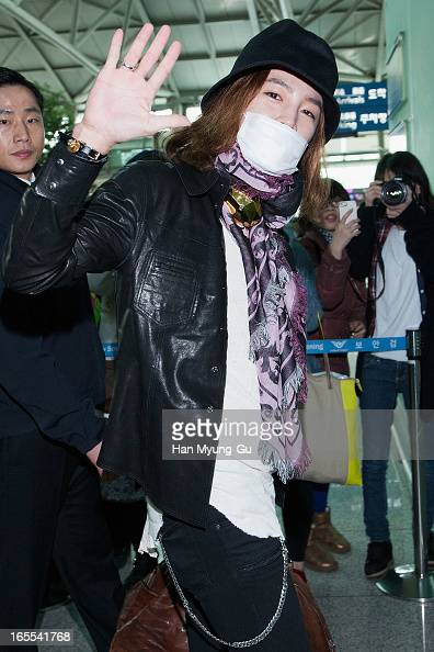 South Korean actor Jang KeunSuk is seen on departure to Taiwan at Incheon International Airport on April 3 2013 in Incheon South Korea