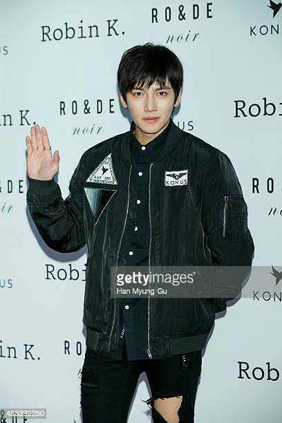 South Korean actor Ji ChangWook attends the photo call for the launch of 'RO DE noir' and 'KONUS' brands on August 27 2015 in Seoul South Korea