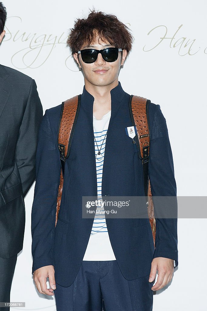 South Korean actor <a gi-track='captionPersonalityLinkClicked' href=/galleries/search?phrase=Jin+Goo&family=editorial&specificpeople=5856942 ng-click='$event.stopPropagation()'>Jin Goo</a> attends during the wedding of Ki Sung-Yueng of Swansea City at COEX Intercontinental Hotel on July 1, 2013 in Seoul, South Korea.