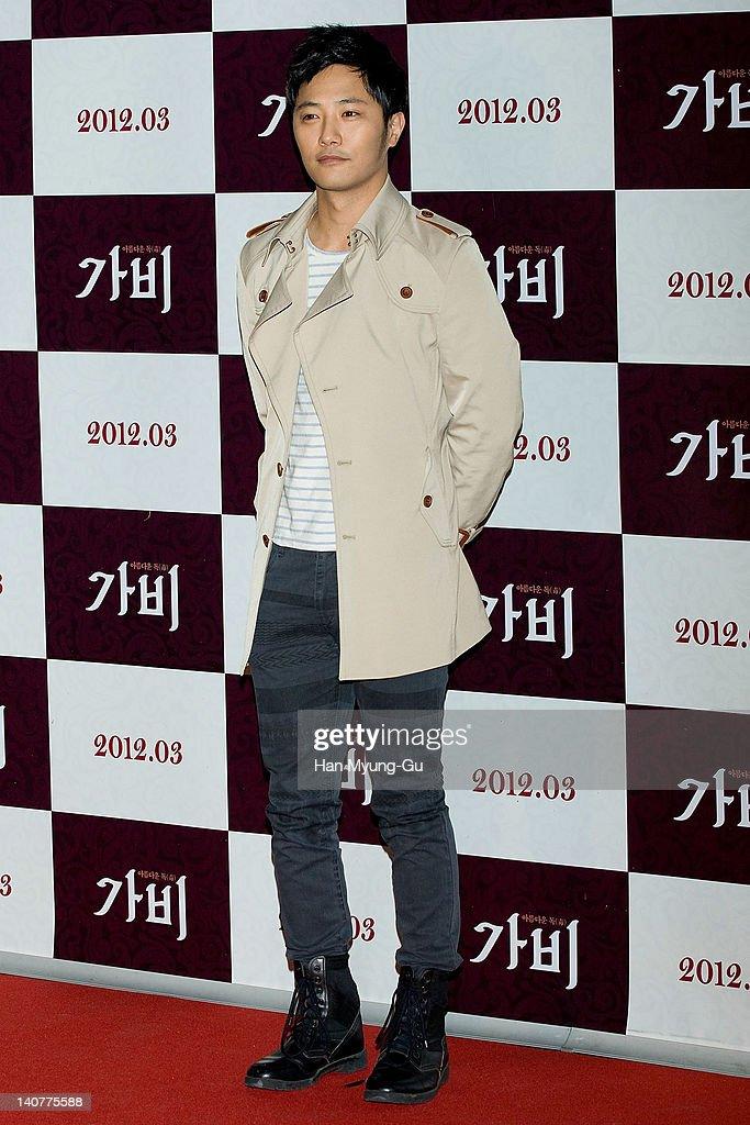 South Korean actor Jin Gu attends the 'Gabi' (Coffee) VIP Premiere at CGV on March 06, 2012 in Seoul, South Korea. The film will open on March 15 in South Korea.