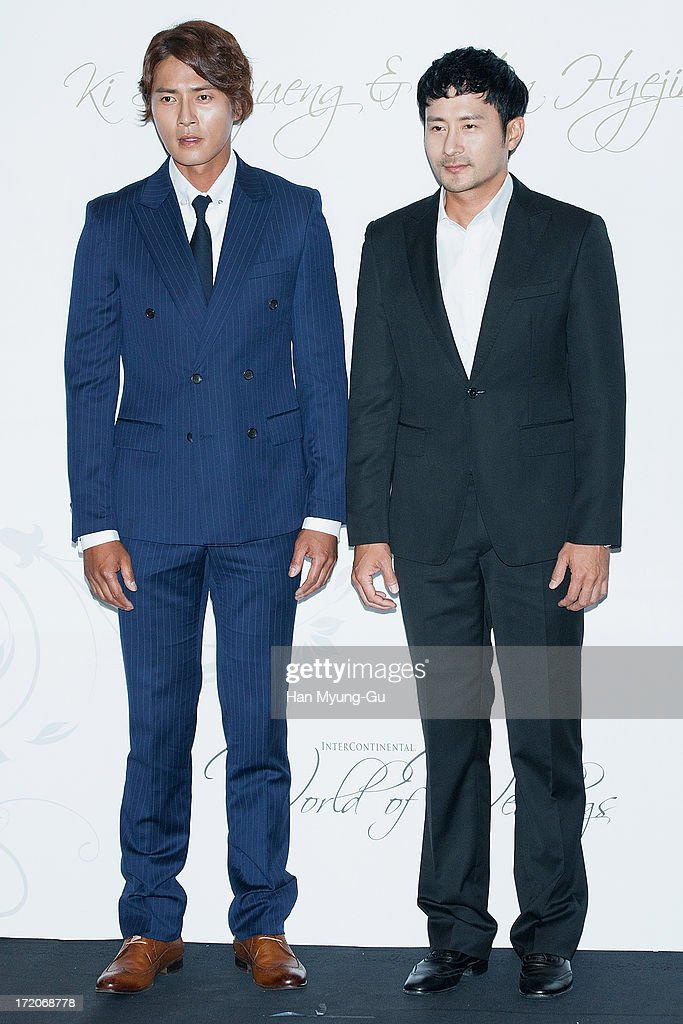 South Korean actor Jo Dong-Hyeok and Lim Hyung-Jun attend during the wedding of Ki Sung-Yueng of Swansea City at COEX Intercontinental Hotel on July 1, 2013 in Seoul, South Korea.