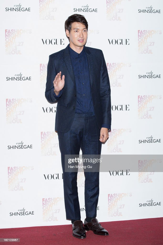 South Korean actor <a gi-track='captionPersonalityLinkClicked' href=/galleries/search?phrase=Jung+Gyu-Woon&family=editorial&specificpeople=5566061 ng-click='$event.stopPropagation()'>Jung Gyu-Woon</a> attends VOGUE Fashion Night Out at Shinsegae Department Store on September 27, 2013 in Seoul, South Korea.