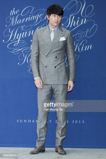South Korean actor Jung WooSung attends during the wedding of Shin HyunJun at the Grand Hyatt Hotel on May 26 2013 in Seoul South Korea
