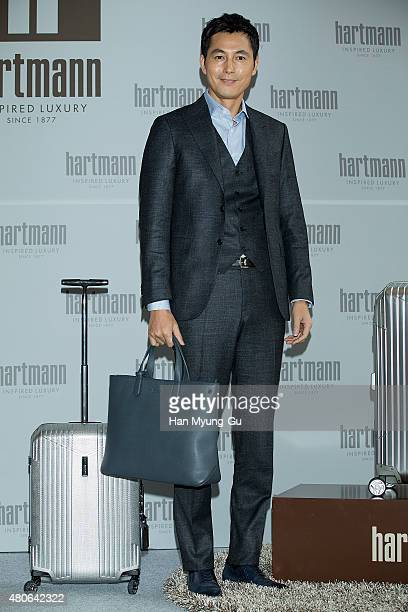 South Korean actor Jung WooSung attends the event for the first anniversary of 'Hartmann' flagship store on July 9 2015 in Seoul South Korea