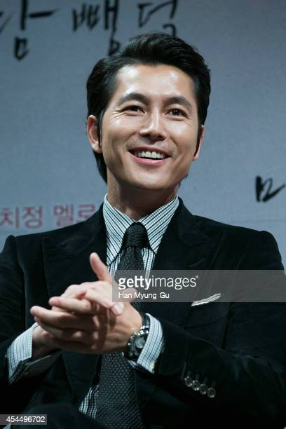 South Korean actor Jung WooSung attends the press conference for 'Scarlet Innocence' at CGV on September 2 2014 in Seoul South Korea