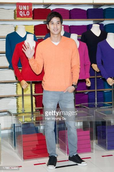 South Korean actor Kim JiSuk attends during the 'Uniqlo' 2013 F/W Silk/Cashmere Project press event at Gangnam Uniqlo Store on August 29 2013 in...