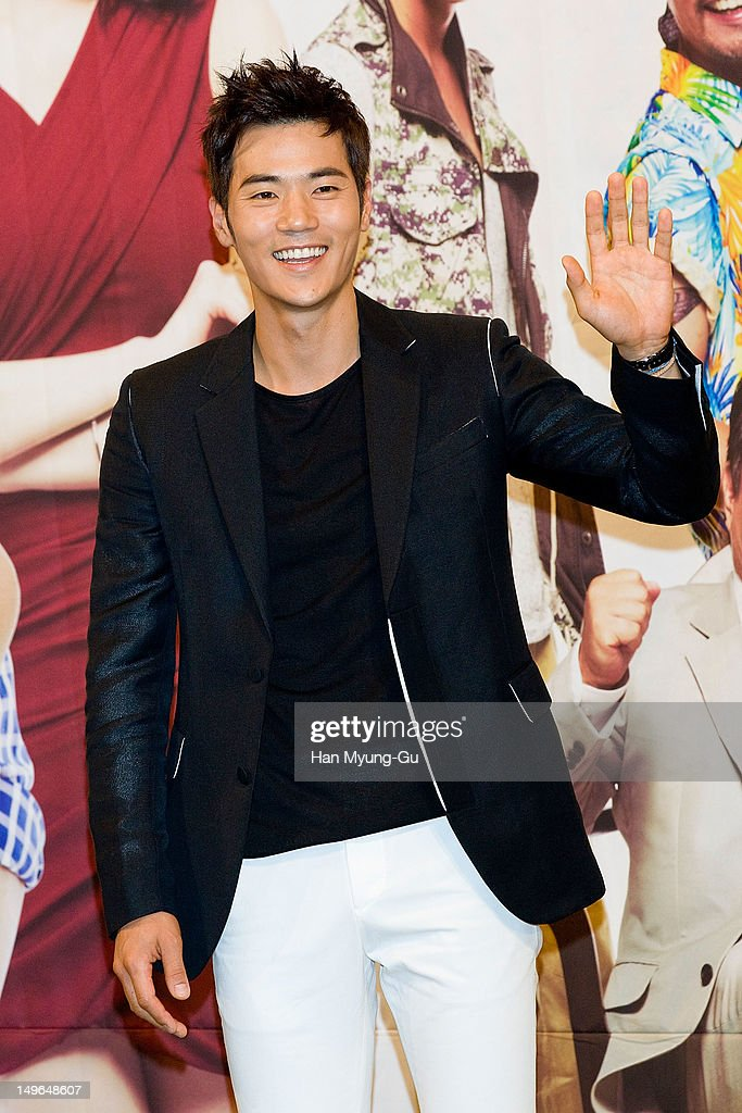 South Korean actor Kim KangWoo attends during a press conference to promote the KBS drama 'Haeundae Lovers' at Imperial Palace Hotel on August 01...
