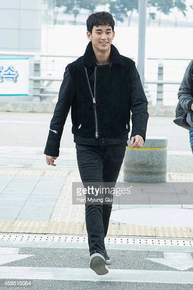 South Korean actor Kim SooHyun is seen on departure at Incheon International Airport on November 24 2014 in Incheon South Korea
