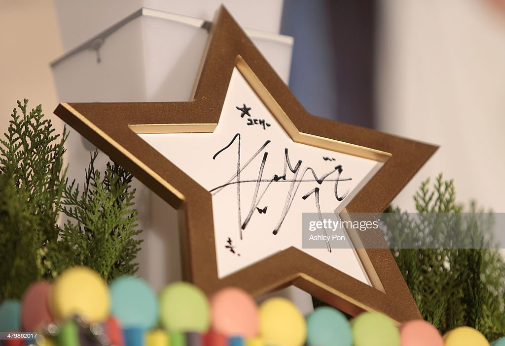 South Korean actor Kim Soo-Hyun's autograph is displayed at the '1st Memories In Taiwan' press conference on March 21, 2014 in Taipei, Taiwan. Kim is famous from Korean TV drama 'Love From The Star' and will stay in Taipei for 2 days to meet with fans.