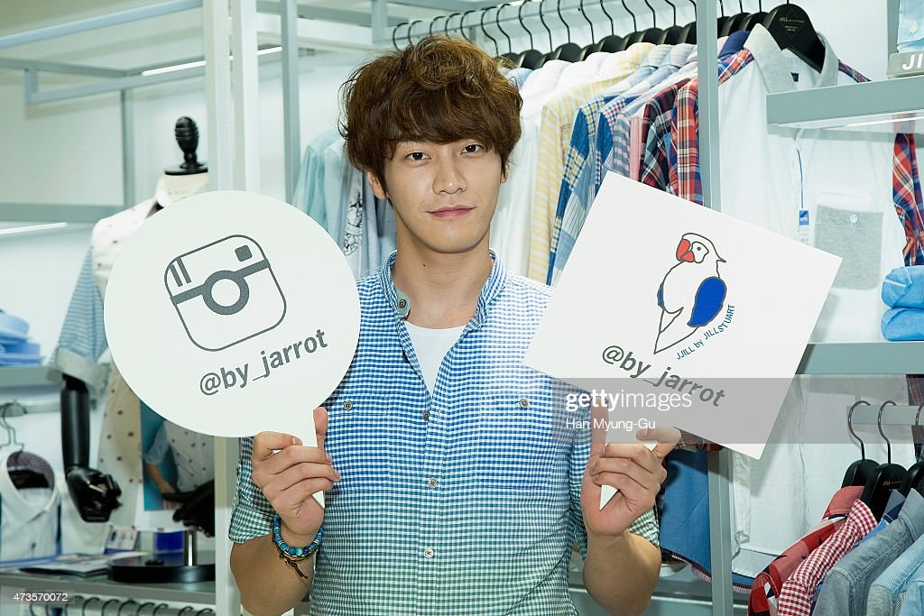 South Korean actor Kim YoungKwang makes an appearance at JILL by Jill Stuart at Lotte Department Store on May 14 2015 in Seoul South Korea