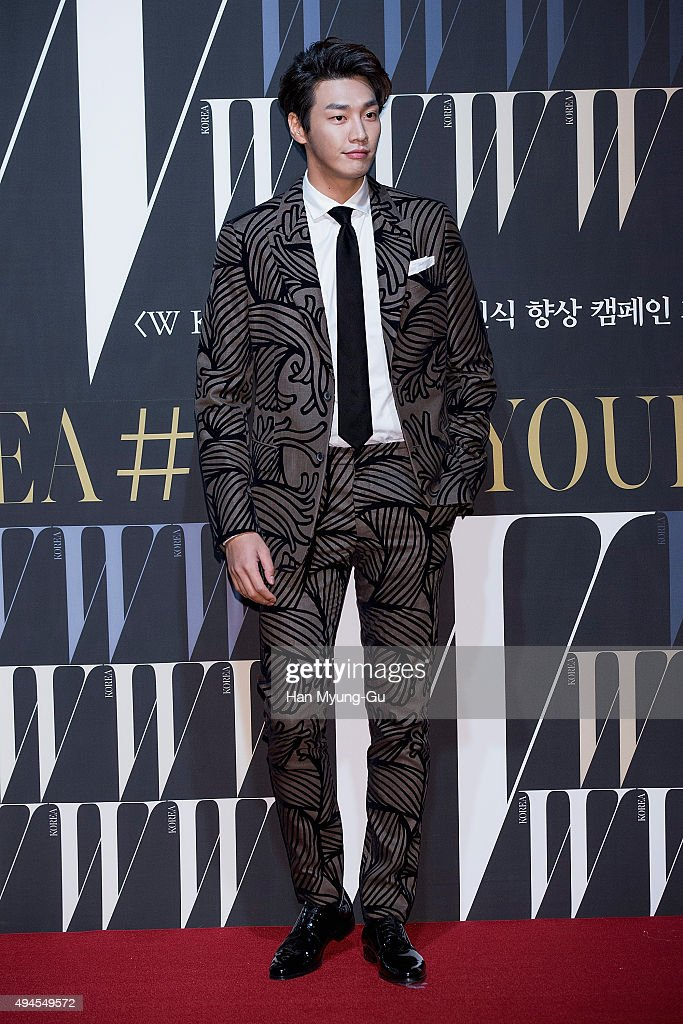 South Korean actor Kim Young-Kwang poses for photographs at the W Magazine Korea Breast Cancer Awareness Campaign 'Love Your W' photo call on October 27, 2015 in Seoul, South Korea.