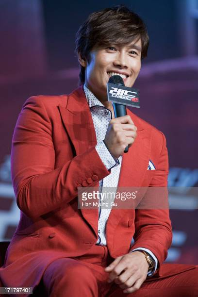 South Korean actor Lee ByungHun attends the 'RED 2' Showcase at Sheraton Walkerhill on June 28 2013 in Seoul South Korea The film will open on July...
