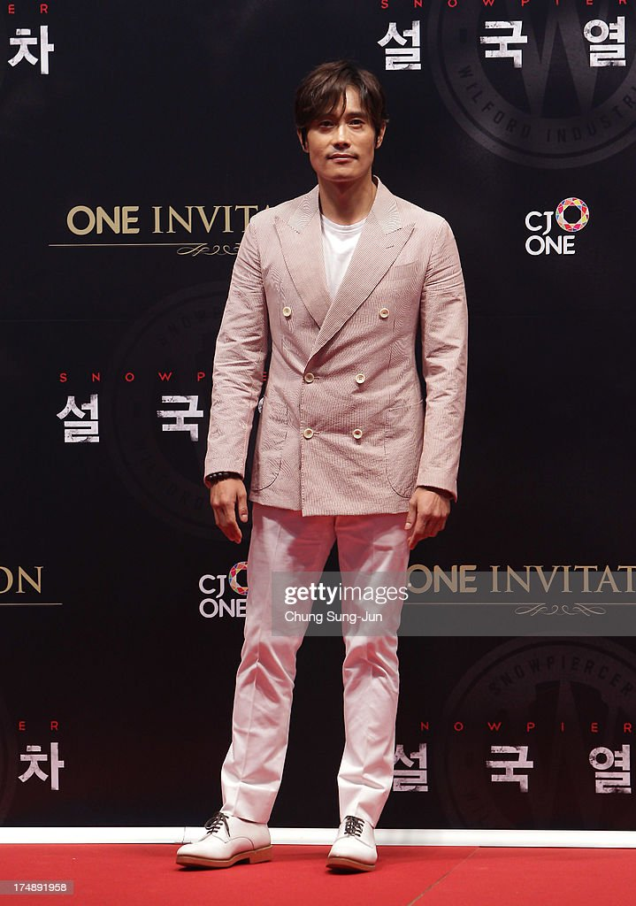 South Korean actor <a gi-track='captionPersonalityLinkClicked' href=/galleries/search?phrase=Lee+Byung-Hun&family=editorial&specificpeople=829983 ng-click='$event.stopPropagation()'>Lee Byung-Hun</a> attends the 'Snowpiercer' South Korea premiere at Times Square on July 29, 2013 in Seoul, South Korea.