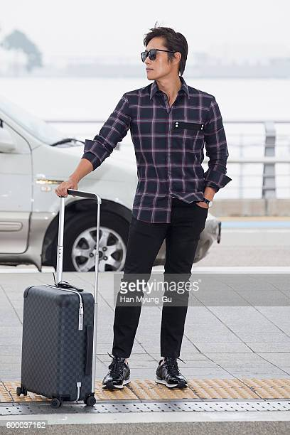 South Korean actor Lee ByungHun is seen on departure at Incheon International Airport on September 7 2016 in Incheon South Korea