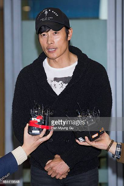 South Korean actor Lee ByungHun speaks to the media upon arrival at Incheon International Airport on February 26 2015 in Incheon South Korea
