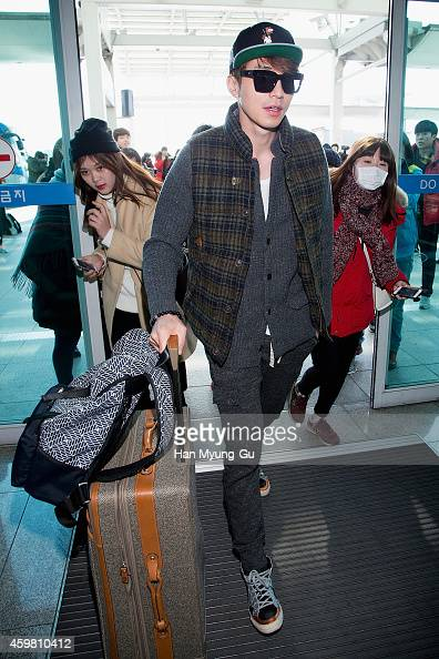 South Korean actor Lee DongWook is seen on departure at Incheon International Airport on December 2 2014 in Incheon South Korea