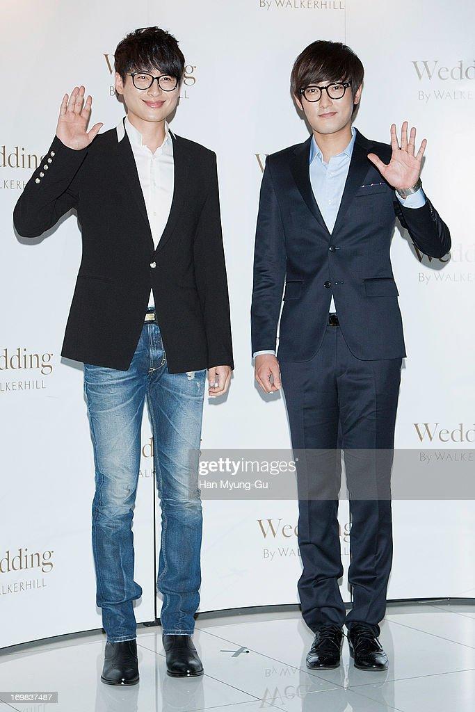 South Korean actor Lee Ji-Hoon (L) and singer Kangta attend the wedding of Baek Ji-Young at Sheraton Walkerhill Hotel on June 2, 2013 in Seoul, South Korea.