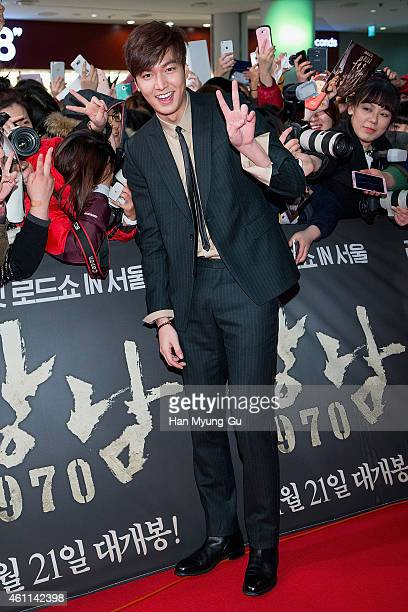 South Korean actor Lee MinHo arrives the showcase for 'Gangnam Blues' at Times Square on January 6 2015 in Seoul South Korea The film will open on...