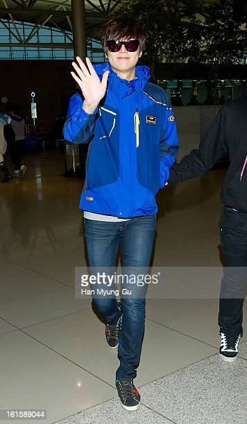 South Korean actor Lee MinHo is seen at Incheon International Airport on February 12 2013 in Incheon South Korea