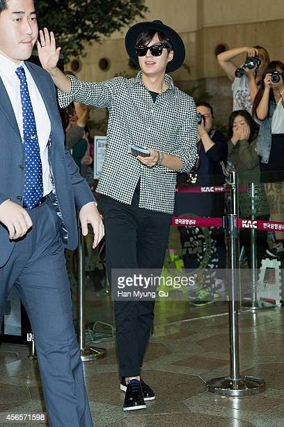 South Korean actor Lee MinHo is seen on departure at Gimpo International Airport on October 3 2014 in Seoul South Korea