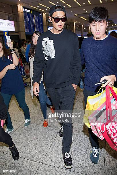 South Korean actor Lee MinHo is seen upon arrival at Incheon International Airport on September 27 2013 in Incheon South Korea