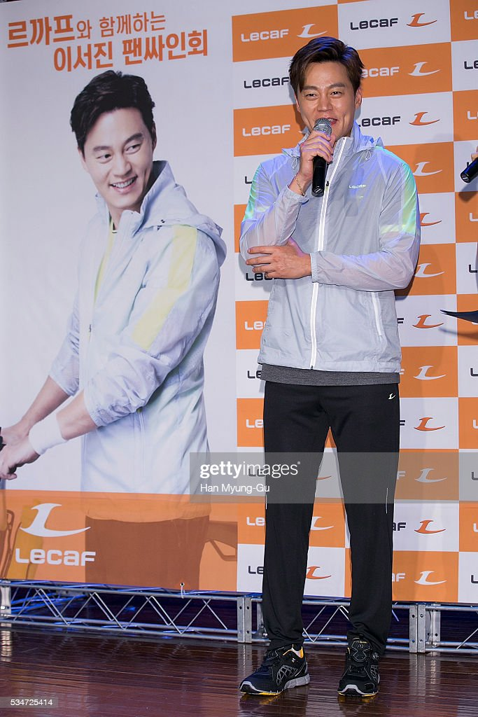 South Korean actor Lee Seo-Jin attends the autograph session for 'Lecaf' at Hyundai Department Store on May 27, 2016 in Seoul, South Korea.