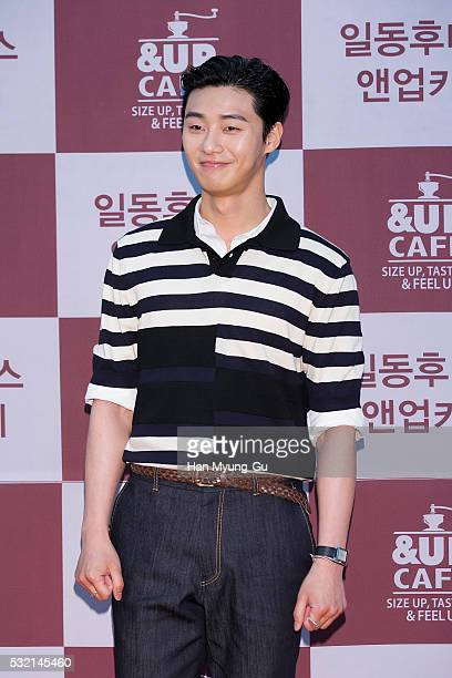 South Korean actor Park SeoJun attends the autograph session For ILDONG Foodis 'UP Cafe' at COEX Mall on May 18 2016 in Seoul South Korea